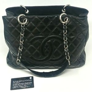 CHANEL GST Caviar Leather Silver Hardware